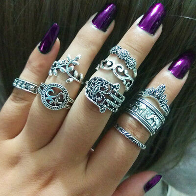 9Pcs Women Retro Bohemian National Wind Ring Hollow-Out Floral Ring Set Jewelry