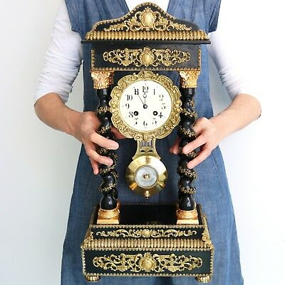JAPY FRERES Mantel CLOCK Antique 21.5 INCH PILLAR Bell Chime HIGH GLOSS SERVICED