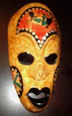 Dominican art all wood artisan carved voodoo mask very rare very well made Mint!