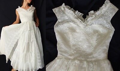 Exquisite Vintage 40s Embroidered Cotton Voile Eyelet Wedding Gown DRESS XS