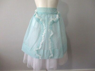 Apron Vtg 1950s Cocktail Hostess Teal Blue White Flocked Lace Winter Snowflakes