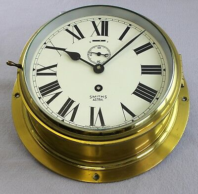 Very Fine Smiths Astral 123 Brass Ships Bulkhead Clock 7 Jewels Great Britain