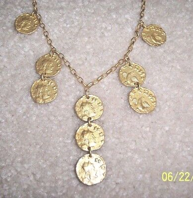 Tat2 Rare Ancient Greek 9 Coin Necklace 24K Gold Plated   New