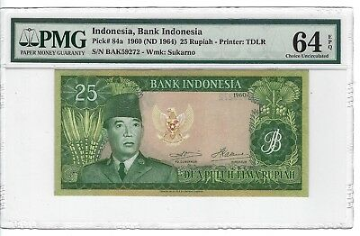 P-84a 1960(64) 25 Rupiah, Bank of Indonesia, PCGS 64PPQ