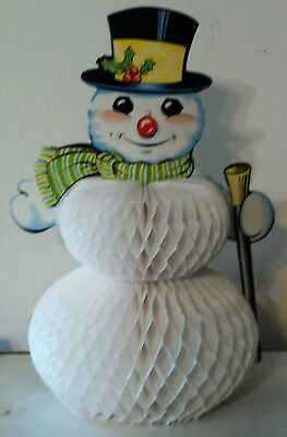 Vintage Christmas Decoration Snowman Honeycomb Paper Cardboard Fold Out Beistle
