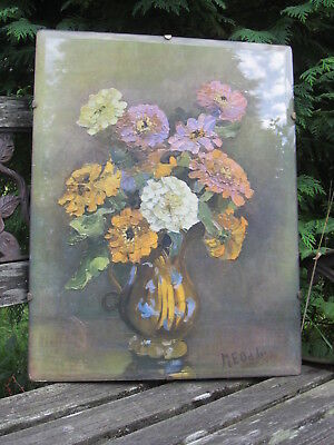 Beautiful Old Vintage 1930's MARY E ODDIE Art Nouveau Floral Still Life Print