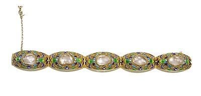 A Chinese Crystal-Inlay Gilt Silver Bracelet