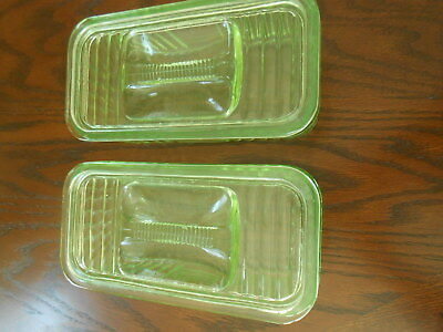TWO Vintage Green Depression Glass Refrigerator Box Dishes- Ribbed with Lid