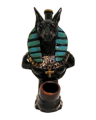 Anubis Handmade Tobacco Smoking Hand Pipe Jackal Dog Egyptian God of the Dead