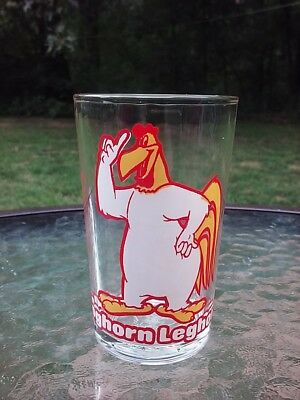 Foghorn Leghorn Drinking Glass Warner Bros Yosemite Sam Embossed Bottom Vtg 1976