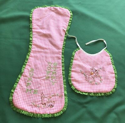 Vintage Baby Bib and Burping Cloth Embroidered 1960s Colors Pink Green