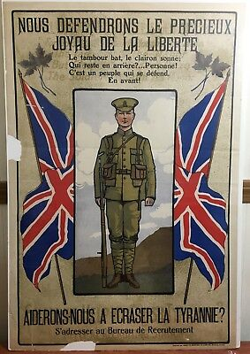 1914 Original Wwi Canada French Canadian Recruitment Poster Montreal Tyranny