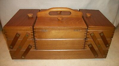 Vintage Wooden Sewing Box Made In Romania ~ Expandable ~ Very Nice !!!
