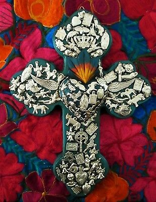 Milagros Cross with Sacred Heart Virgin Guadalupe Mexican Folk Art Ex Voto