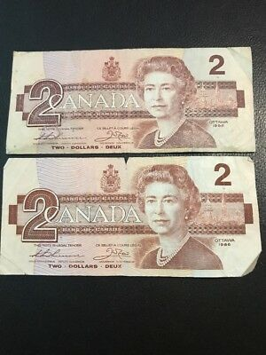 2 1986 Candian 2 Dollars Bills Circulated (Acceptable Condition) Vintage