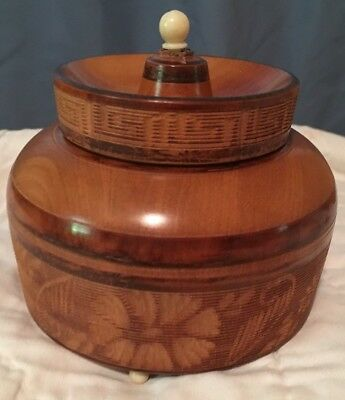 Hand Turned and Carved Wooden Box 1968