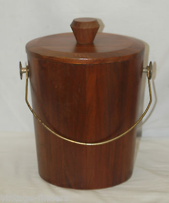 Old Vintage Vermillion Real Walnut Wood Ice Bucket w Brass Handle Mid-Century