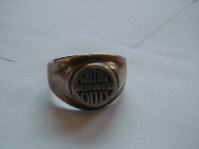 Old Sterling Silver Ring Men's Size 14 Good Cond. Harley Davidson Motorcycles