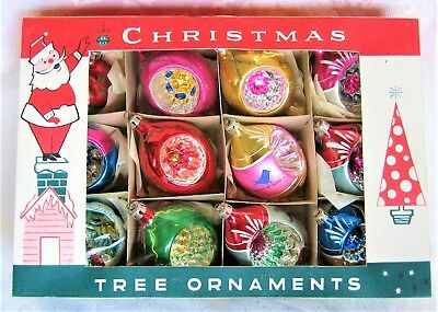 Vintage Fantasia Glass Christmas Ornaments boxed Poland Indent Teardrop Round #3