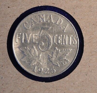 1925  Canada Five Cent - KEY DATE - Nice Condition - Inv# P-252