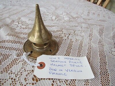 Original Wwi Imperial German Pickelhaube Brass Spike Dug In Verdun France