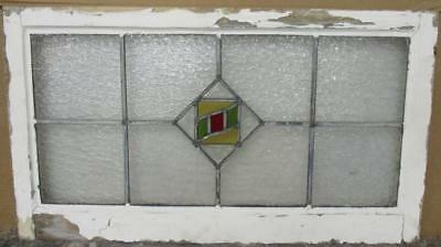 "OLD ENGLISH LEADED STAINED GLASS WINDOW TRANSOM Nice Geometric 31.5"" x 18"""