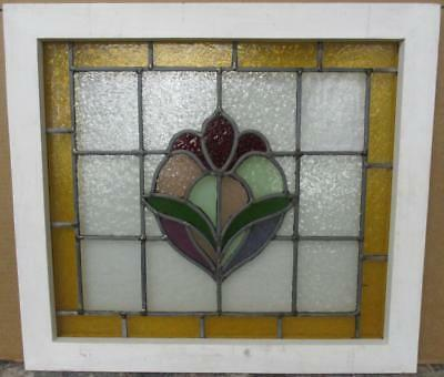 "MID SIZED OLD ENGLISH LEADED STAINED GLASS WINDOW Bordered Floral 24"" x 21.5"""