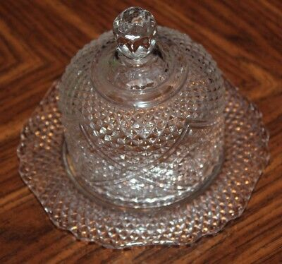 Vintage Crystal Clear Glass Small Butter Dish Cheese Plate w/ Dome Cover Lid