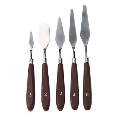 5PCS Stainless Spatula Oil Painting Wooden Handle Palette Knife Set Artist
