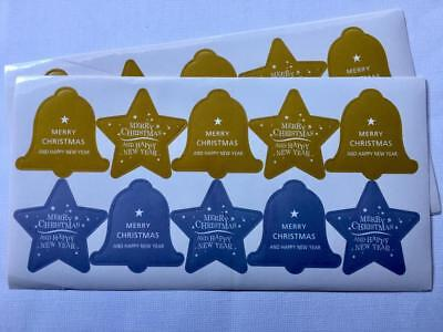 30 LARGE CHRISTMAS BELL & STAR STICKERS  labels seals gift treat bags xmas