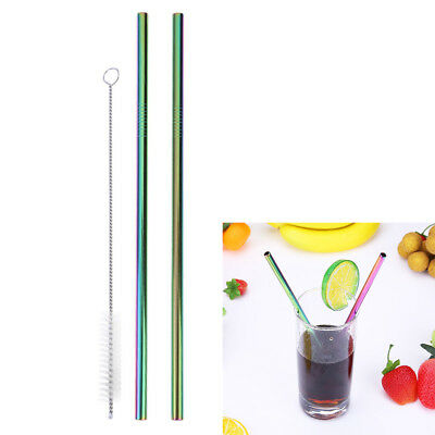 2x Reusable Stainless Steel Metal Drinking Straws +1x Cleaning Brush Home Party