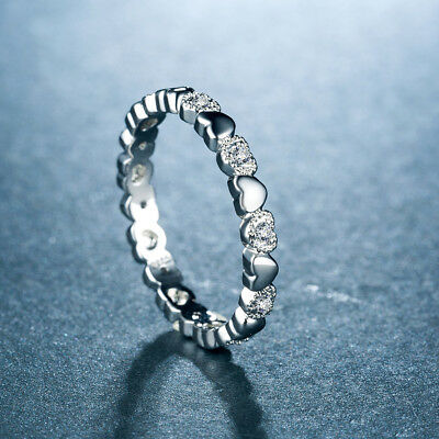 Elegant Heart Rings for Women 925 Silver Jewelry White Sapphire Size 6-10