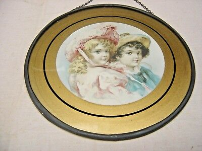 Antique Flue Cover Lithograph Print Spring Clothing Blond Girl w/ Blue eyes 7185