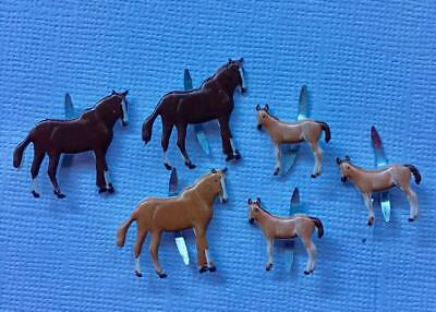 BRADS HORSE / PONY pk of 6 split pin craft animal horses ponies farm