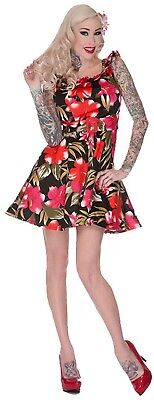 VOODOO VIXEN VINTAGE FLORAL FLOCKED 50/'S EMO PIN UP ROCKABILLY DRESS DRA2144