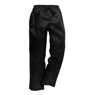 Chef Pants Black Hospitality Cook Trousers Kitchen Baggys Portwest Slacks XS
