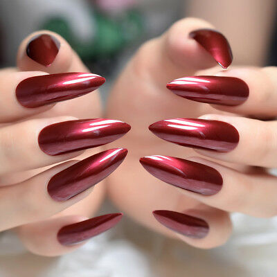 24Pcs Good Quality Acrylic Nail Wine Red Extra Long Shiny Nail Easy Apply Z932