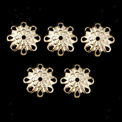 5 Pcs Flower Spacer Beads Flat Spacer Beads,Sterling Silver Spacer Beads 8mm