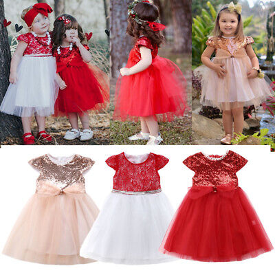 AU Kids Baby Girls Sequins Lace Tulle Party Pageant Bridesmaid Formal Tutu Dress