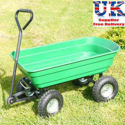 75L Heavy Duty Garden Dump Truck Tipping Trailer Trolley Cart Wheelbarrow 250kgs