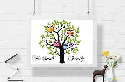 Personalised Owl Family Tree Wall Art Print Poster Ideal Gift A4