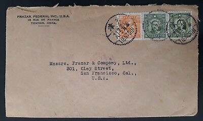 RARE c. 1941 China Cover ties 3  stamps canc Tientsin to San Francisco USA