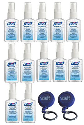 12 x Purell 60ml Hand rub Sanitiser & 2 FREE Retractable Clips