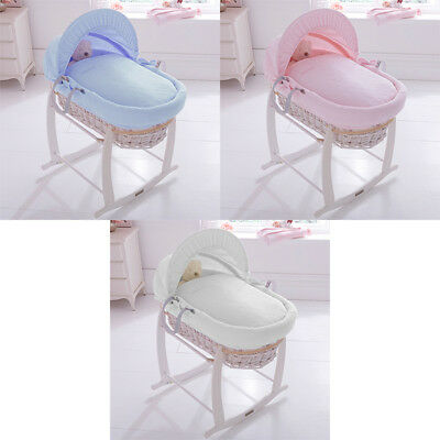 Clair de Lune Cotton Candy White Wicker Moses Basket