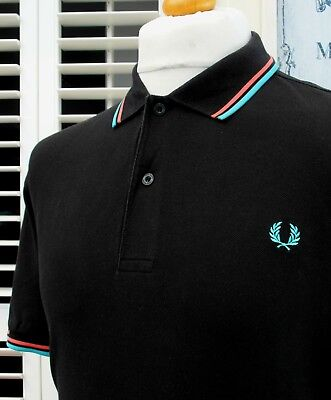 Fred Perry M1200 Black Twin Tipped Pique Polo - XL/XXL - Ska Mod Scooter Casuals