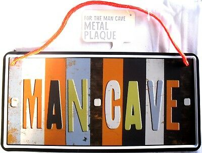 'man Cave' Metal Sign Hanging Wall Plaque, Number Plate Design. Ideal Xmas Gift.