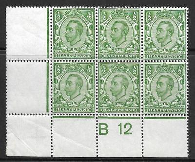 Sg 338 ½d Green Downey Head control B12(c) perf 2A UNMOUNTED MINT/MNH
