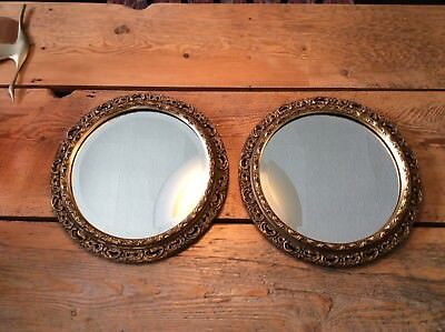 "Pair of Gorgeous Ornate Antique Carved Wood Gilt 12 3/8"" Round Bevelled Mirrors"