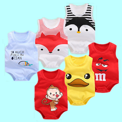 Cute Newborn Kids Baby Boy Girl Cotton Bodysuit Romper Jumpsuit Outfit Clothes