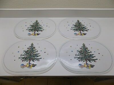 NIKKO Christmastime Vinyl Placemats Set of 4 Holiday Tree Pattern Korea